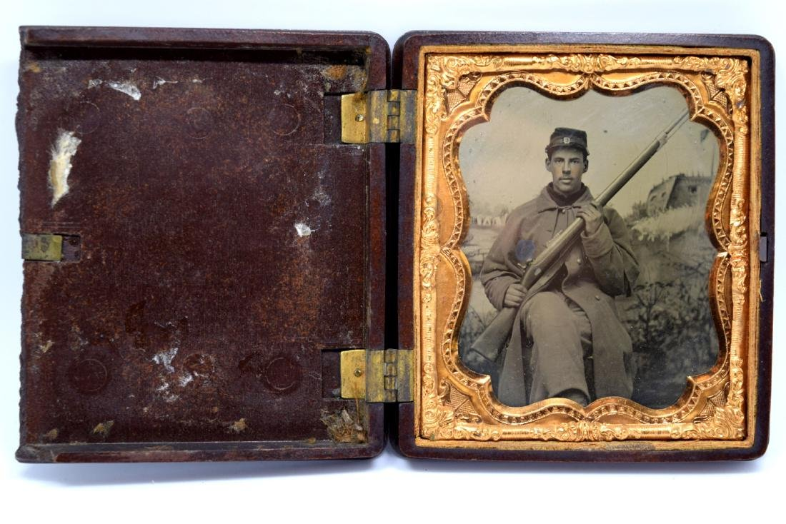 1/6 plate Tintype Image of Yong Civil War Soldier of - 2