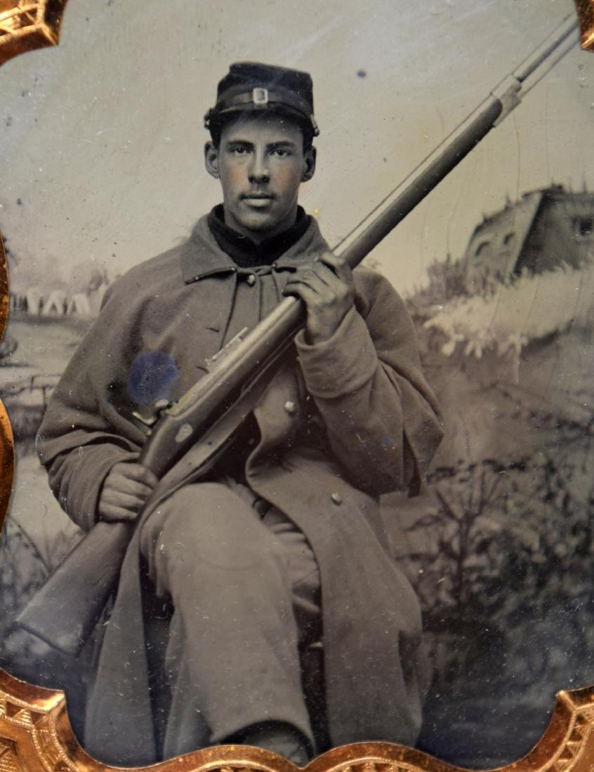 1/6 plate Tintype Image of Yong Civil War Soldier of - 3