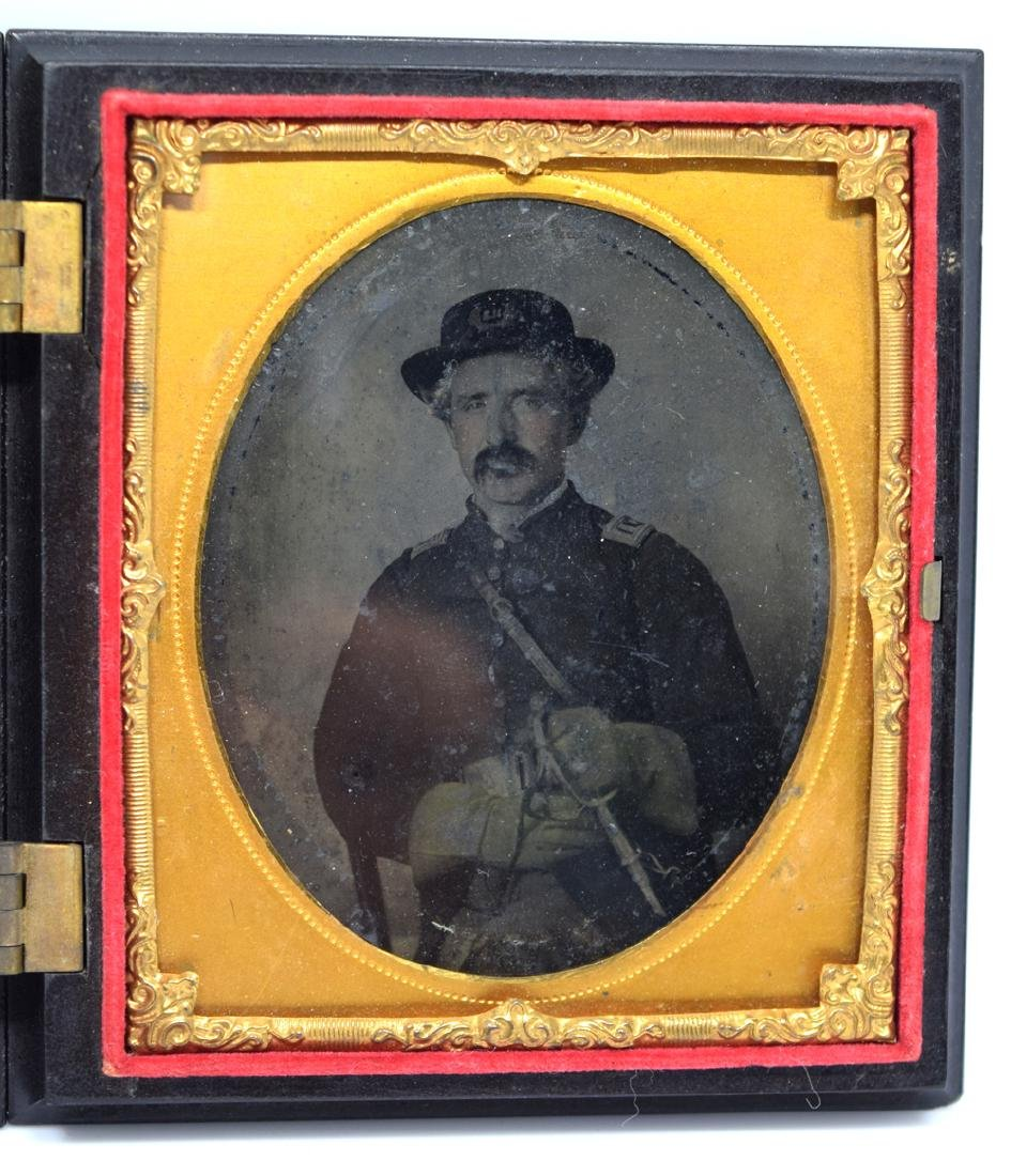 1/6 plate Tintype Image of Civil War Officer Armed with