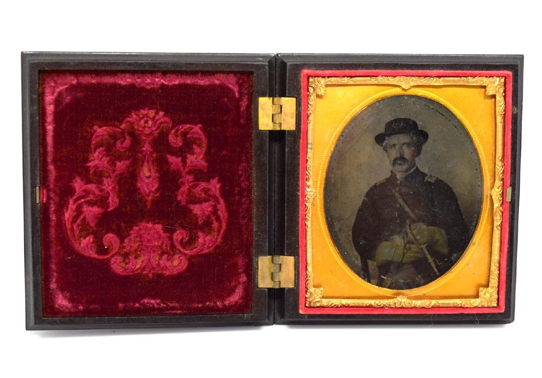 1/6 plate Tintype Image of Civil War Officer Armed with - 2