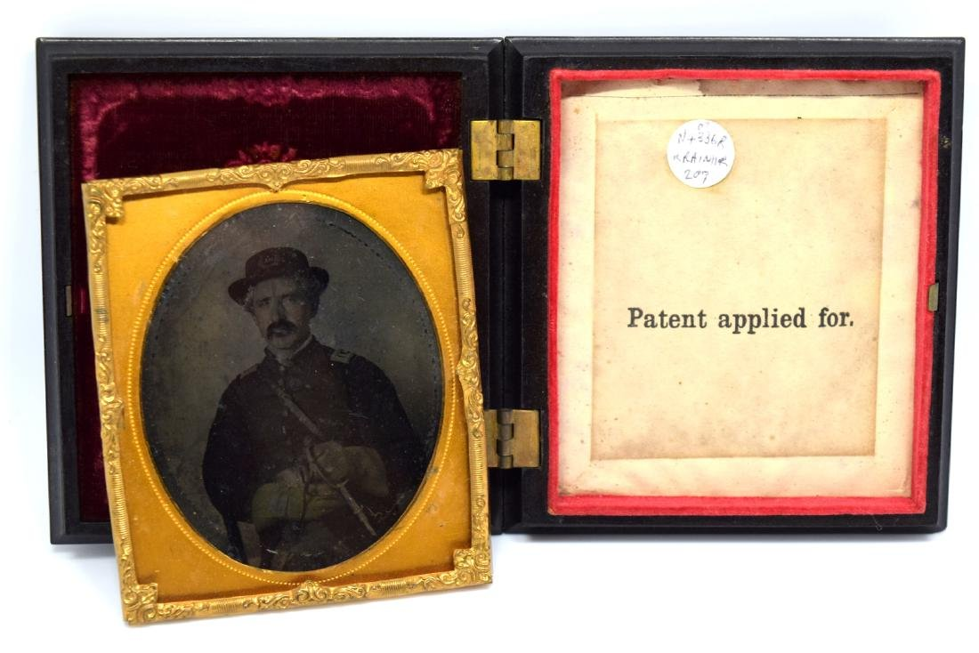 1/6 plate Tintype Image of Civil War Officer Armed with - 5