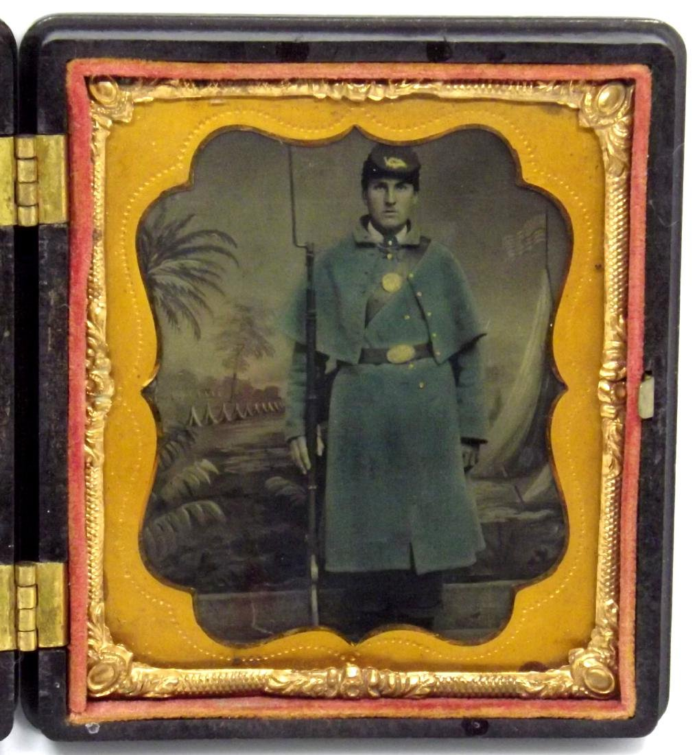 1/6 plate Tintype Image of Civil War Soldier Armed with