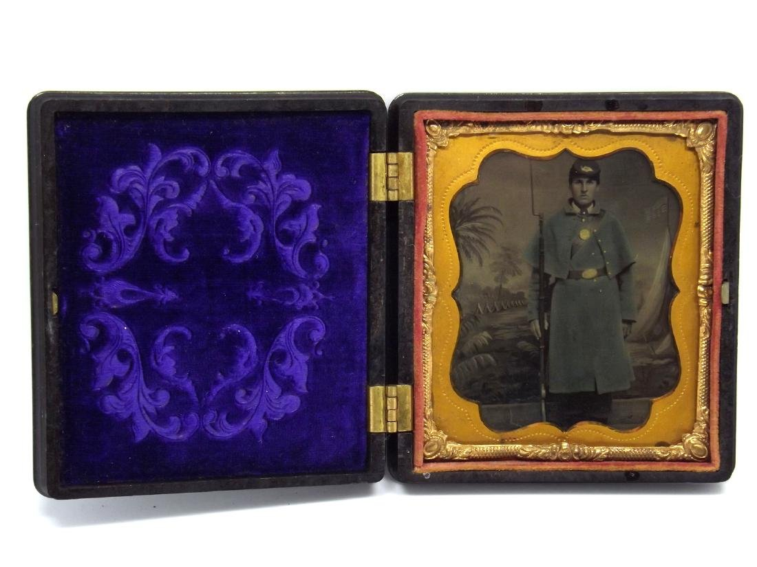 1/6 plate Tintype Image of Civil War Soldier Armed with - 2