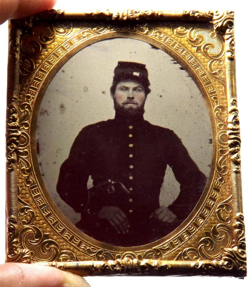 1/6 plate Ruby Ambrotype Image of ID'ed Civil War - 5