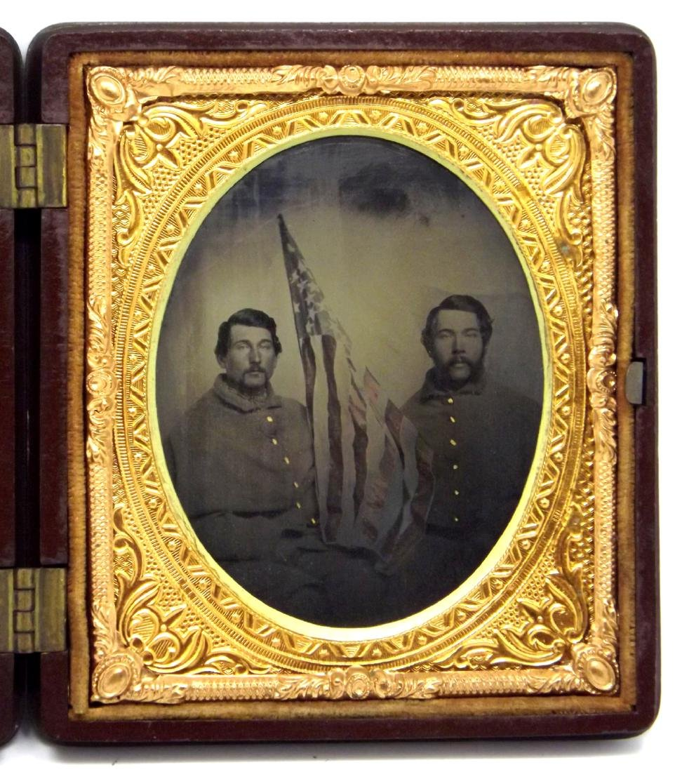 Rare 1/6 plate Tintype Image of Two 11th Maine Civil