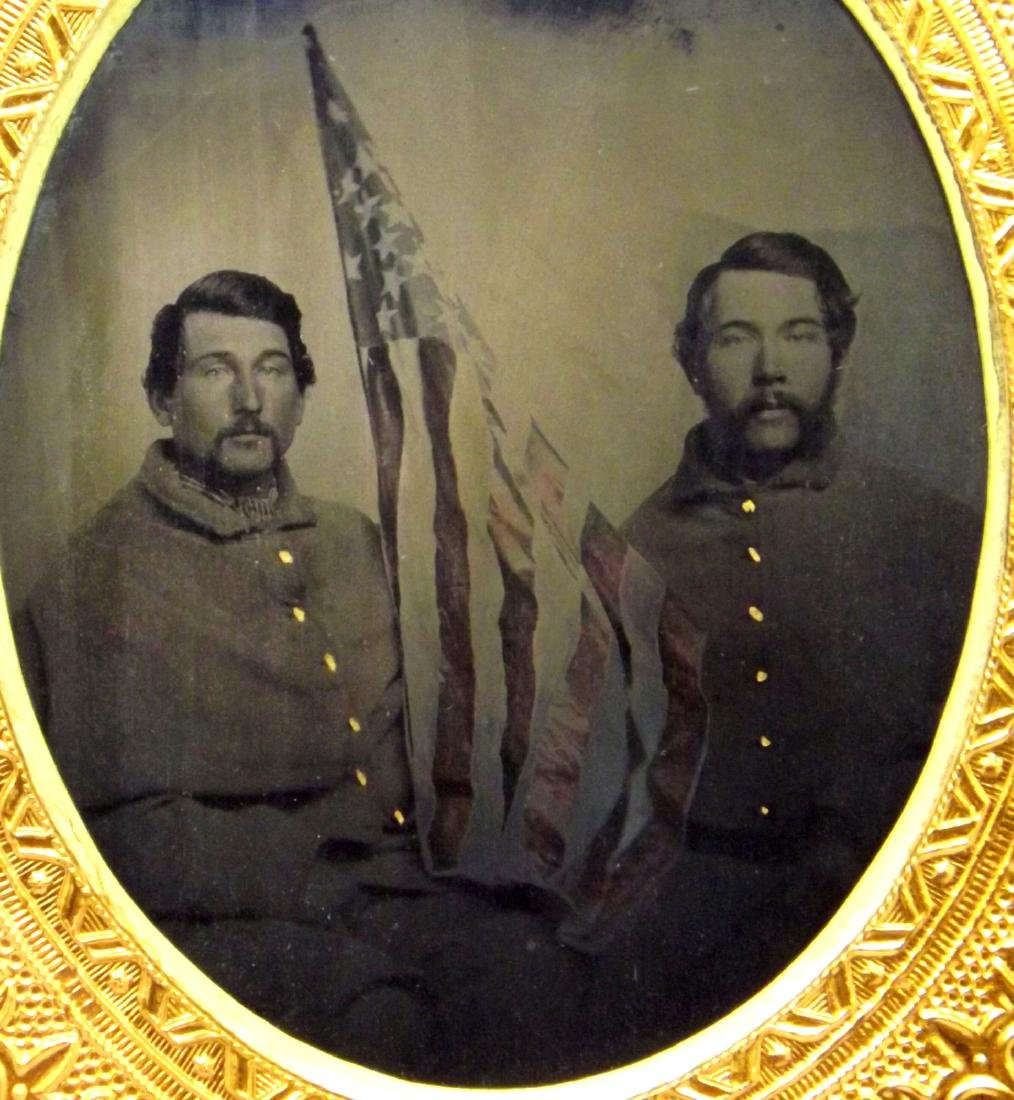 Rare 1/6 plate Tintype Image of Two 11th Maine Civil - 7