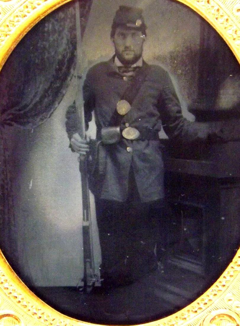 1/6 plate Tintype Image of Civil War Soldier Armed with - 3