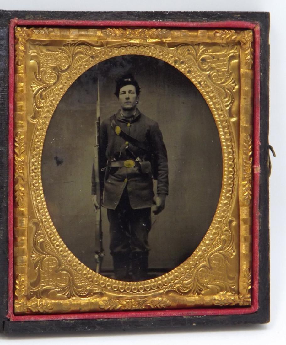 Rare 1/6 plate Tintype Image of Civil War Soldier