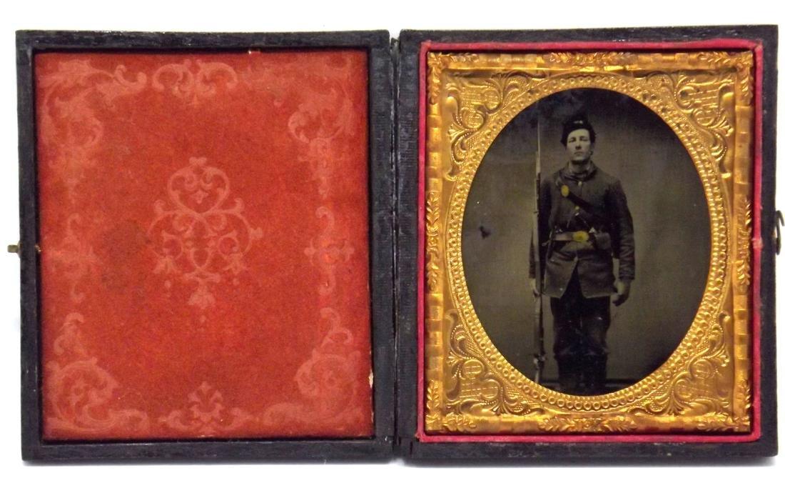 Rare 1/6 plate Tintype Image of Civil War Soldier - 2
