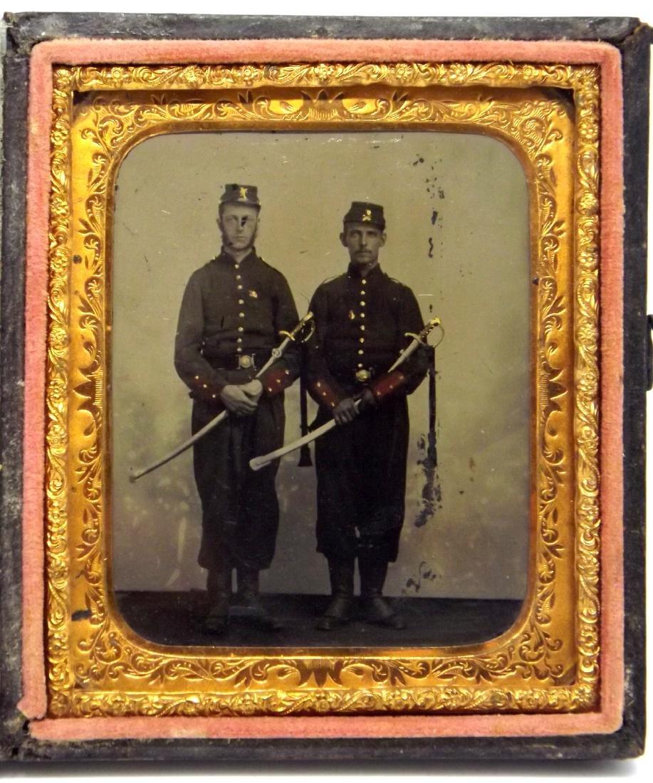 1/6 plate Tintype Image of 2 Civil War Artillery