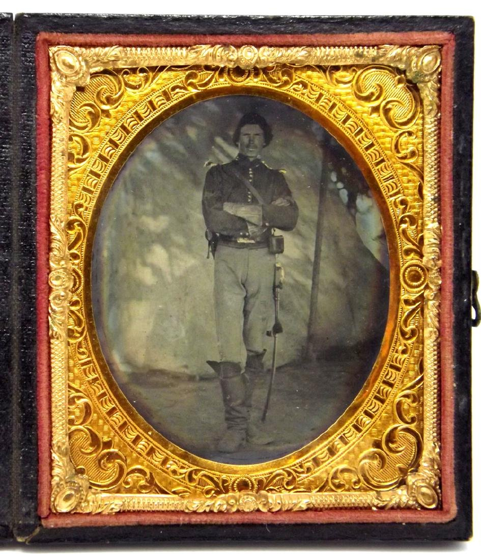 Fine 1/6 plate Tintype Image of a Great Looking Civil