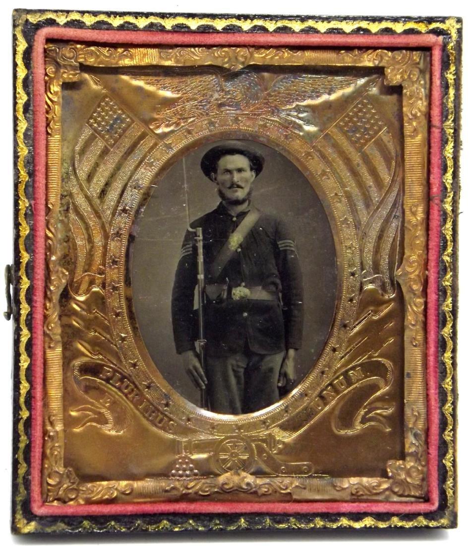 1/6 plate Tintype Image of Mean Looking Civil War