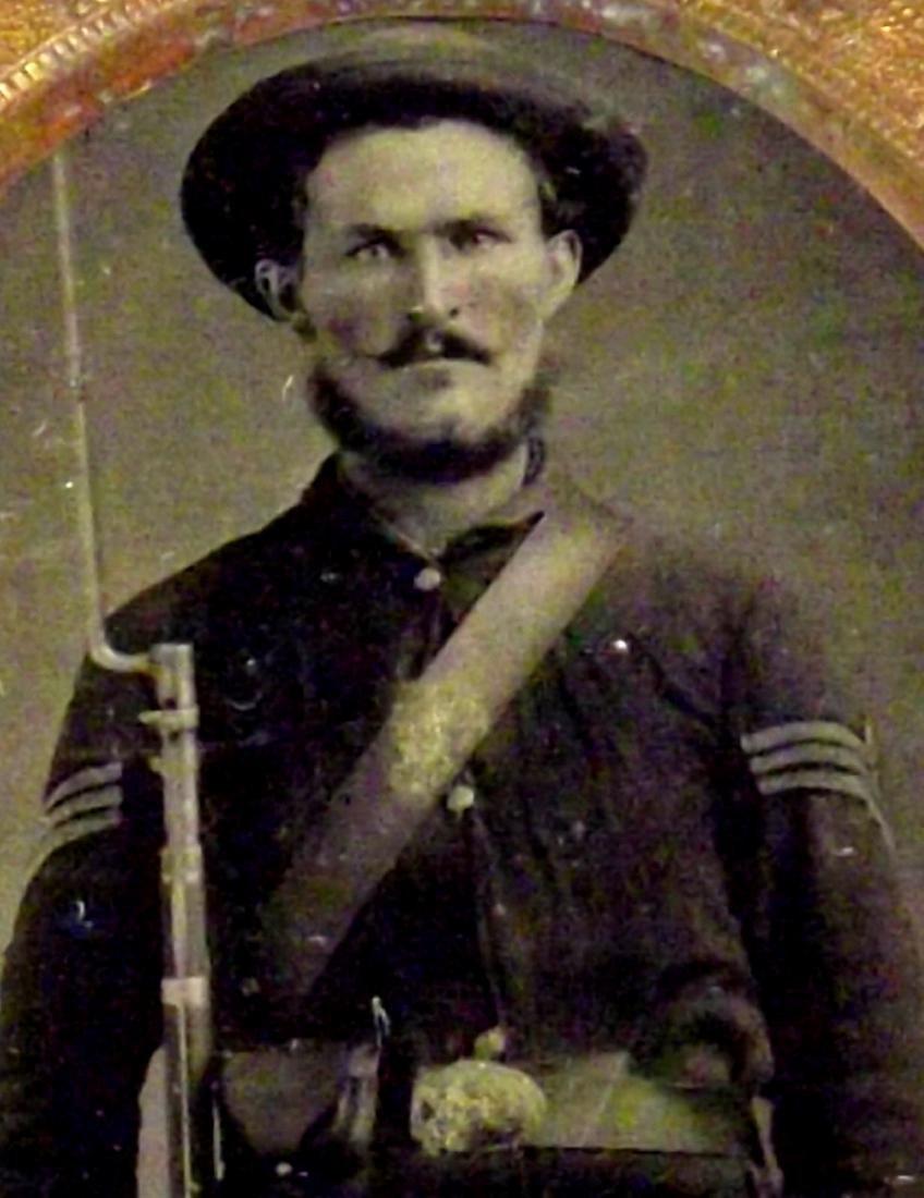 1/6 plate Tintype Image of Mean Looking Civil War - 2