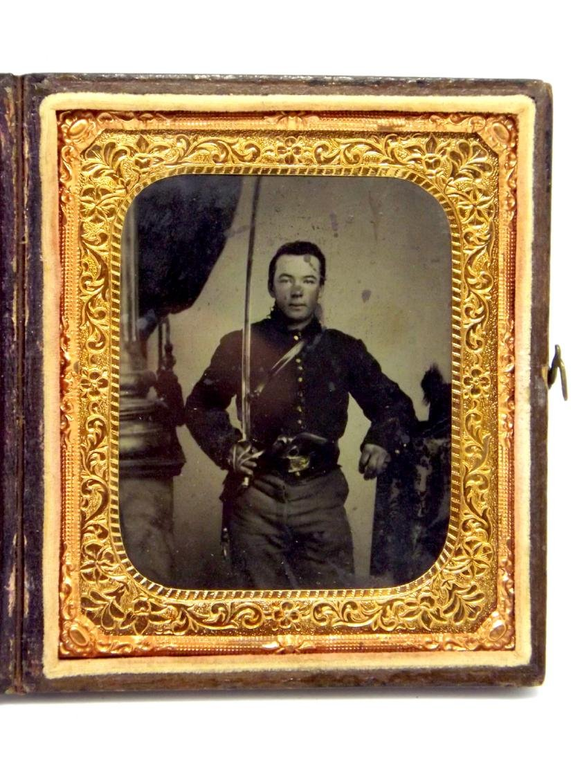 Great 1/6 plate Tintype Image of Civil War Cavalry
