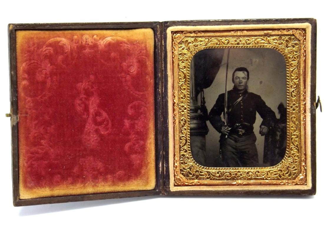 Great 1/6 plate Tintype Image of Civil War Cavalry - 2