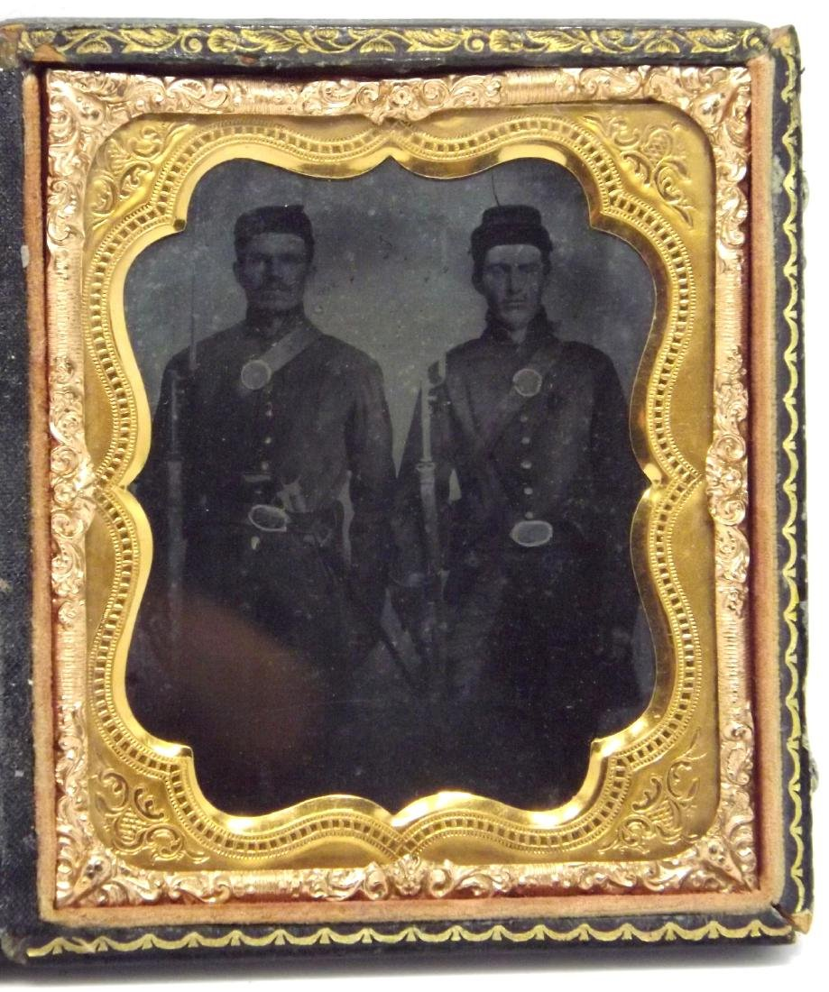 1/6 plate Ruby Ambrotype Image of 2 Civil War Soldiers