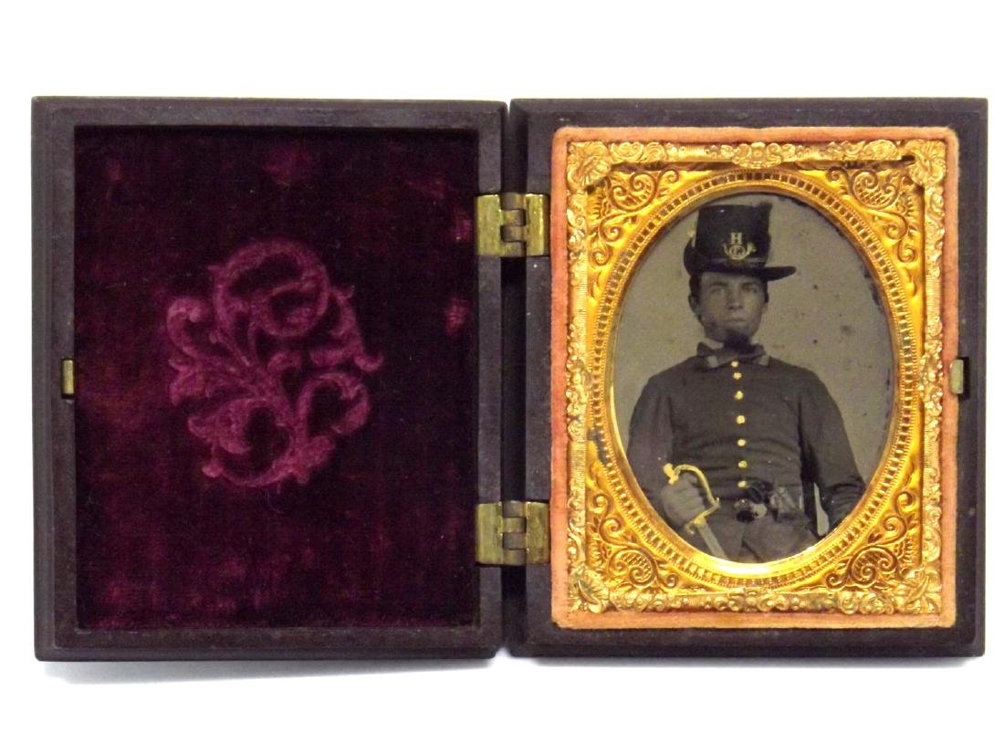 1/9 plate Tintype Image of Civil War Soldier Armed with