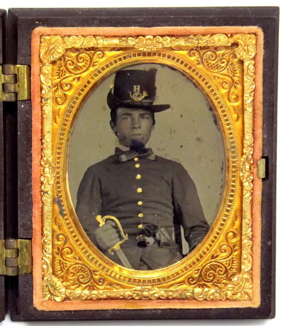 1/9 plate Tintype Image of Civil War Soldier Armed with - 2