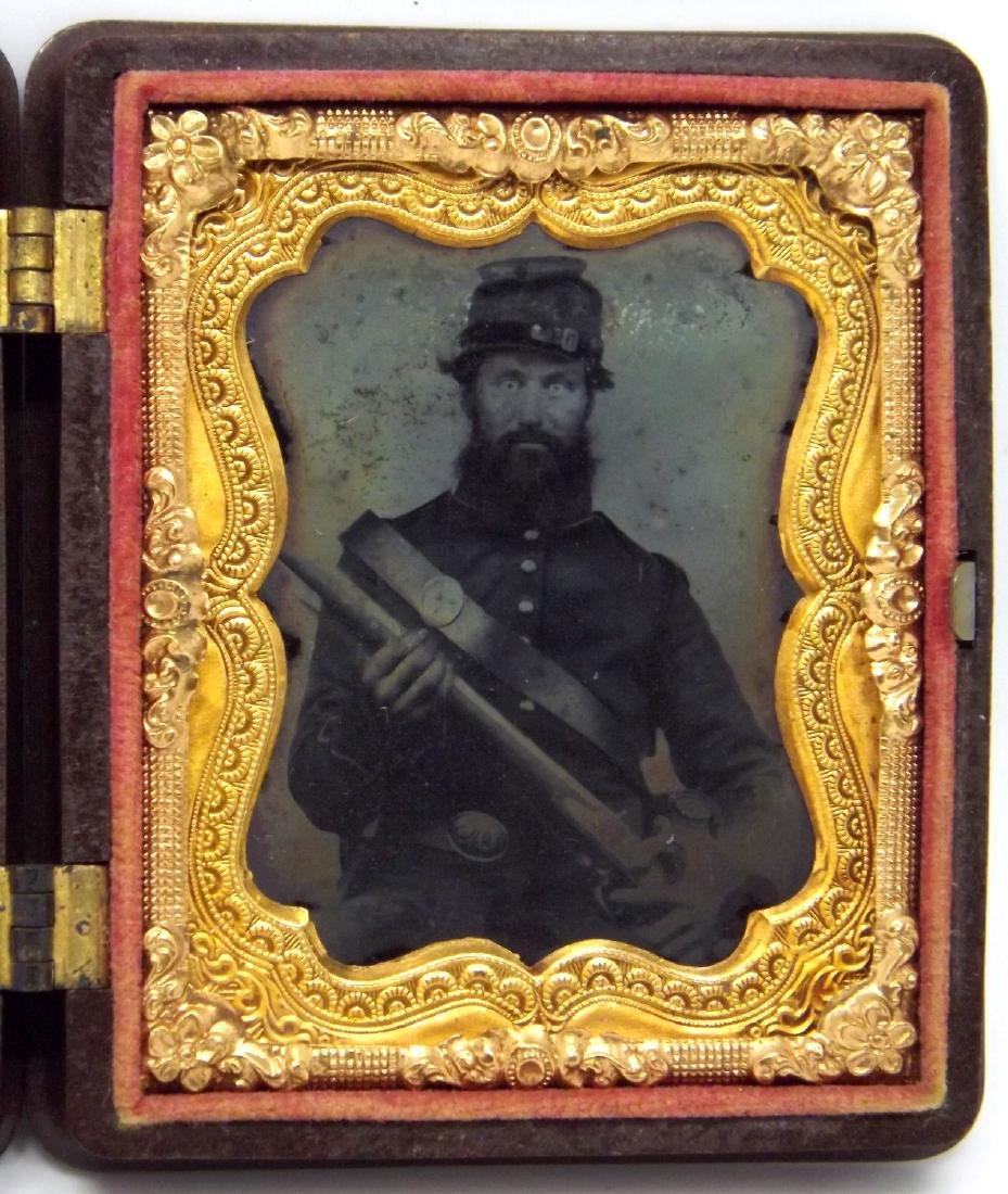 1/9 plate Tintype Image of Fearless Looking Civil War