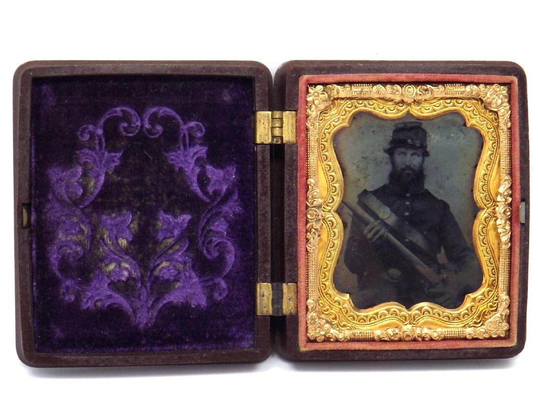 1/9 plate Tintype Image of Fearless Looking Civil War - 2