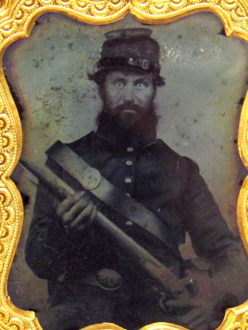 1/9 plate Tintype Image of Fearless Looking Civil War - 3
