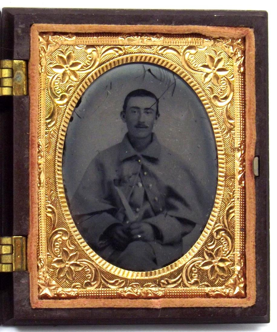 Rare 1/9 plate Tintype Image of Confederate Civil War