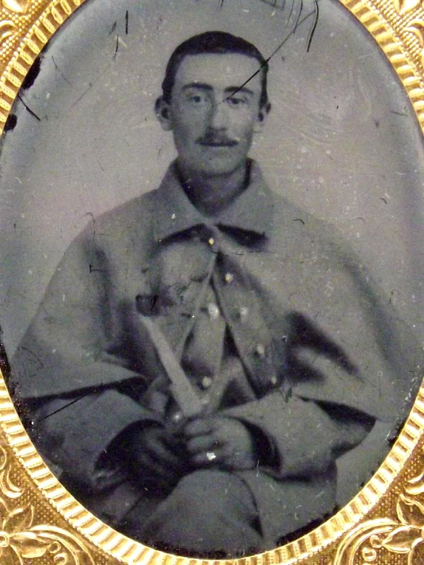 Rare 1/9 plate Tintype Image of Confederate Civil War - 3