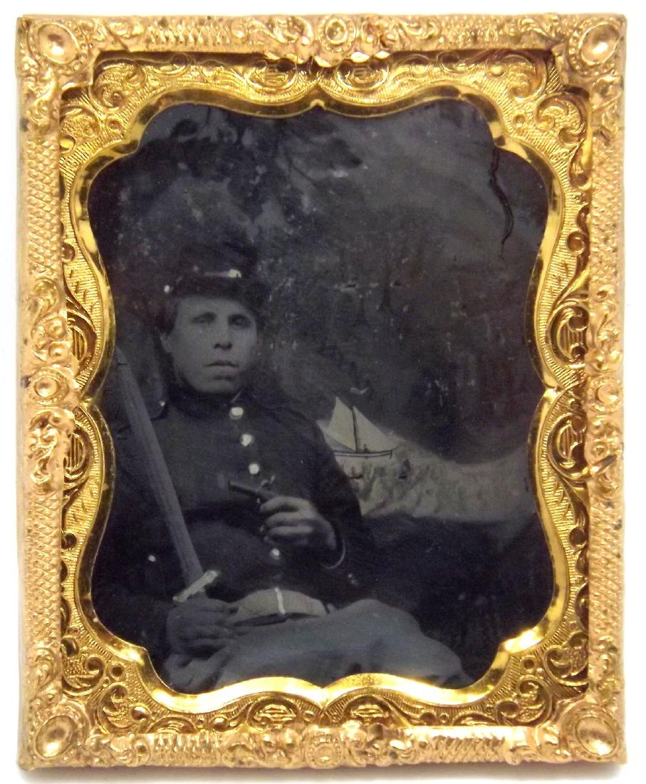 Rare 1/9 plate Ambrotype (Tintype) Image of Civil War