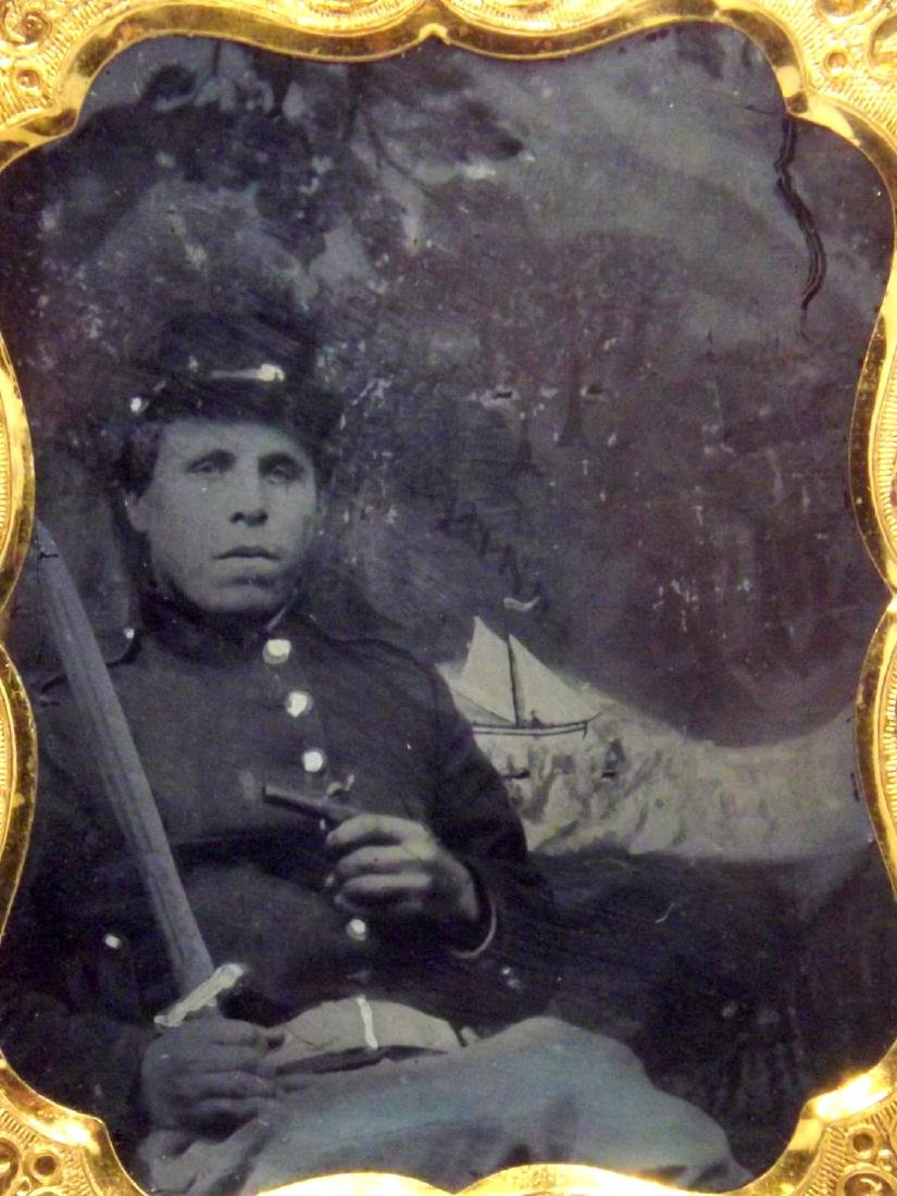 Rare 1/9 plate Ambrotype (Tintype) Image of Civil War - 2