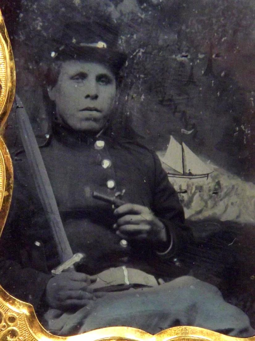 Rare 1/9 plate Ambrotype (Tintype) Image of Civil War - 3