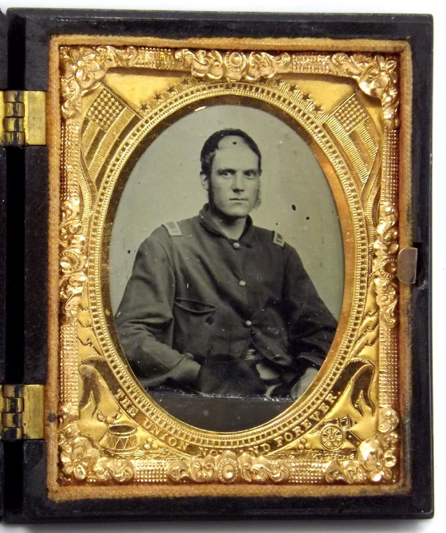 1/9 plate Tintype Image of Civil War Soldier Wounded in