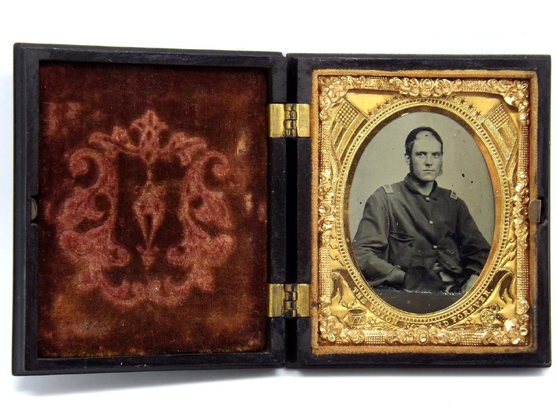 1/9 plate Tintype Image of Civil War Soldier Wounded in - 2
