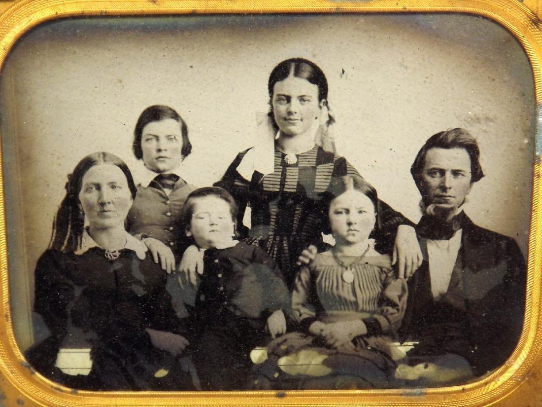 Civil War era Half plate Ambrotype image of a family