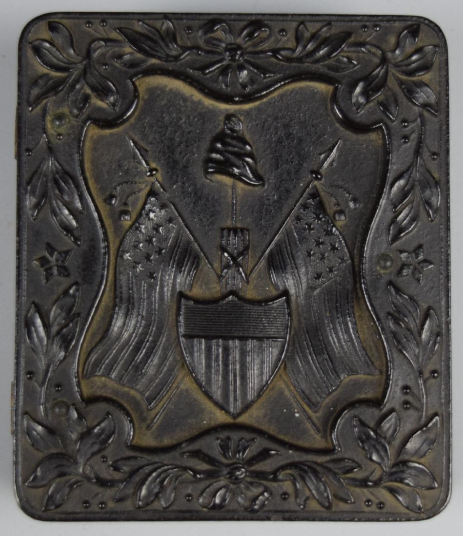 "Nice Patriotic 1/9 plate ""The Liberty Cap, Flags & - 6"