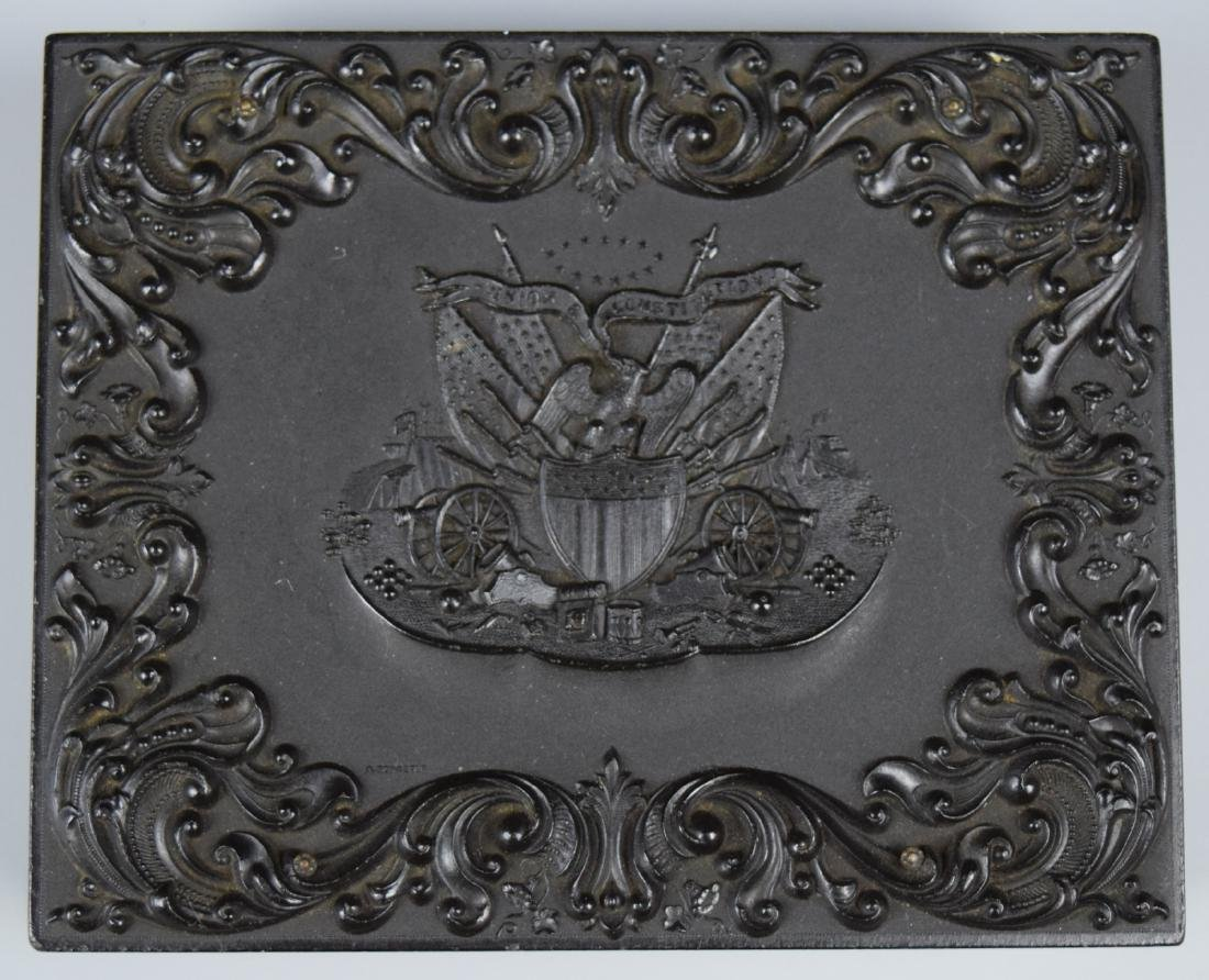 """Scarce Patriotic """"Union and Constitution"""" 1/4 plate - 6"""