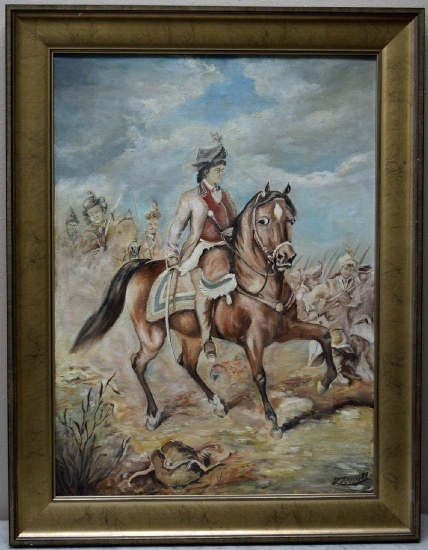 Antique Polish framed oil on canvas painting of the