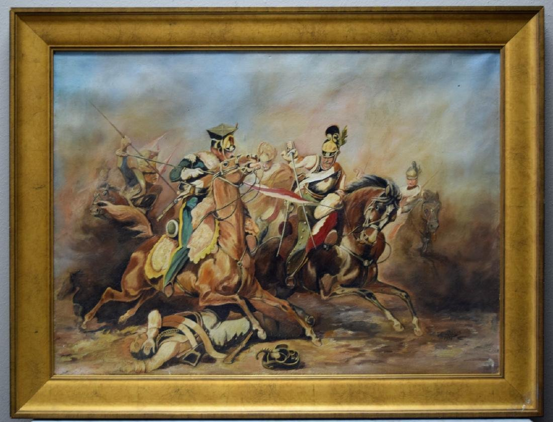 Vintage framed oil on canvas painting depicting fightin
