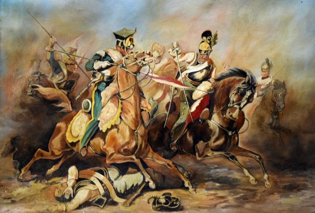 Vintage framed oil on canvas painting depicting fightin - 2