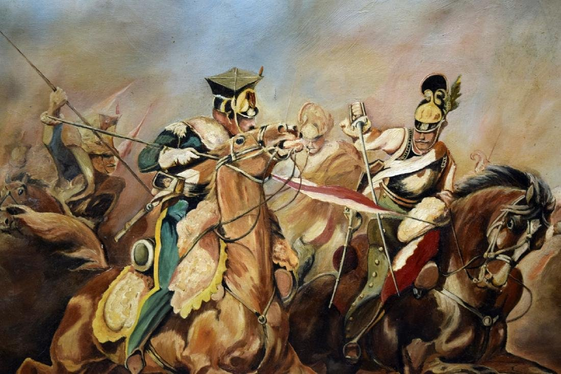 Vintage framed oil on canvas painting depicting fightin - 3