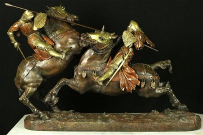 """Multi-color antique bronze with moving parts """" Pair Of"""