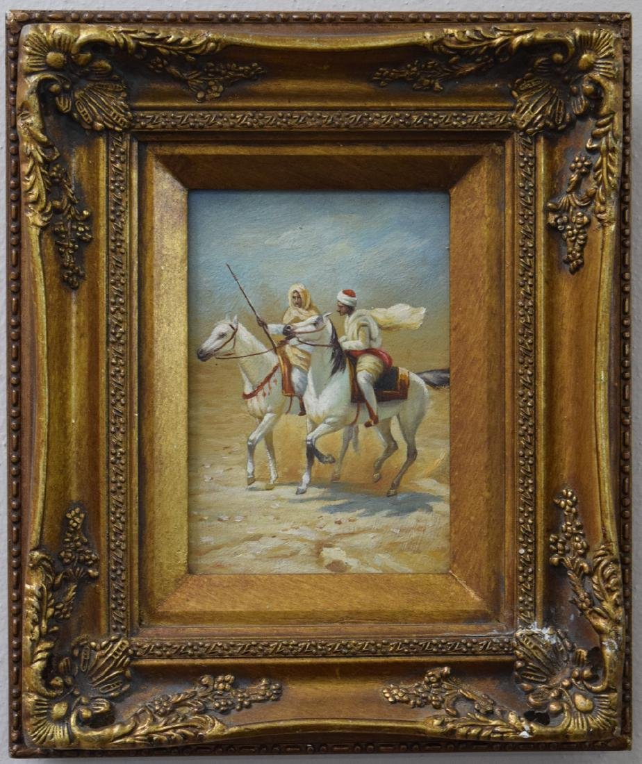 Antique oriental oil on board painting of two Arabs on