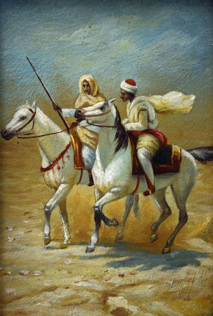 Antique oriental oil on board painting of two Arabs on - 2