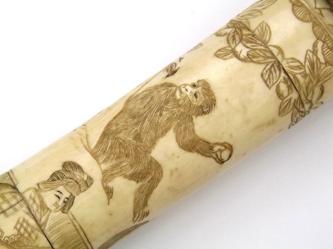 19th C. Meiji Era Japanese Bone Mounted Tanto Dagger - 10
