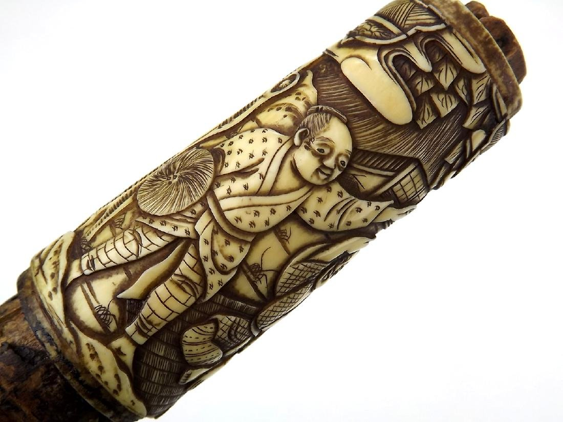 19th C. Meiji Era Japanese Tanto Dagger in Fine Carved - 10
