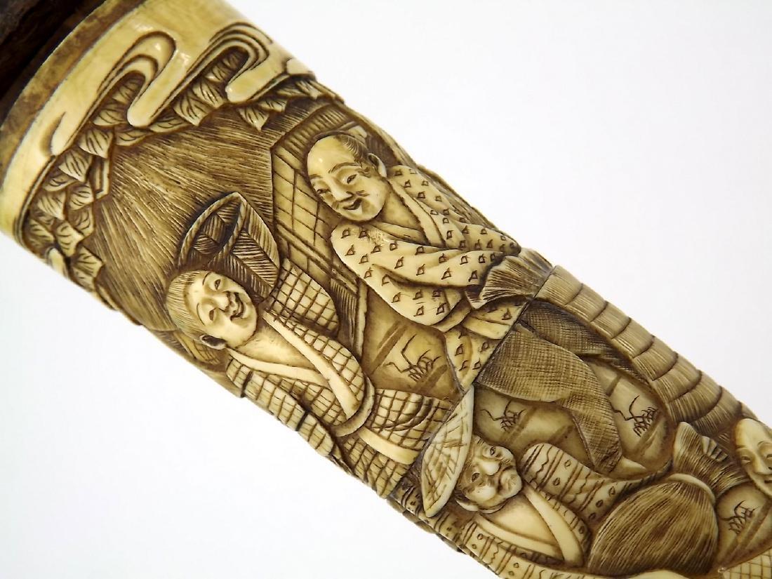 19th C. Meiji Era Japanese Tanto Dagger in Fine Carved - 3