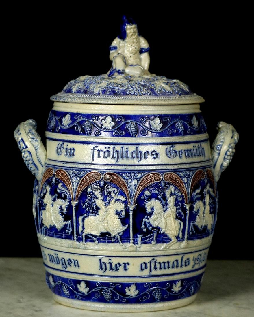 Antique German Mettlach covered urn depicting Medieval