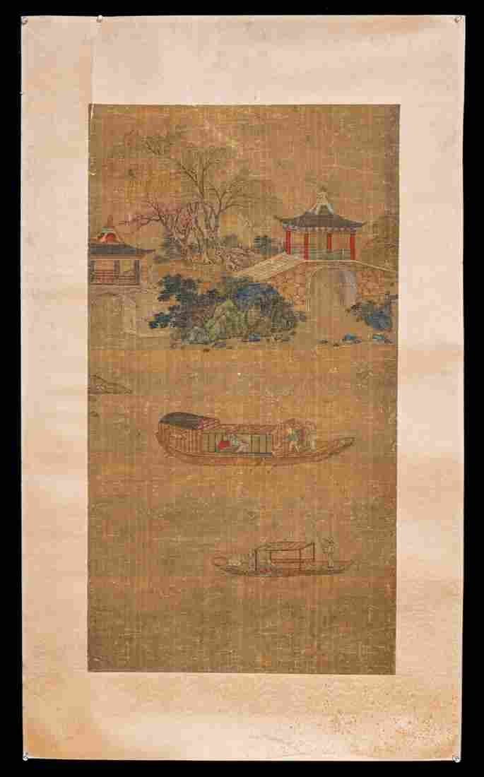 Chinese Qing watercolor painted on silk