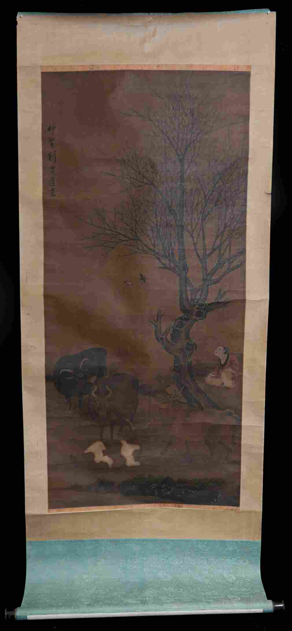 Chinese Qing watercolor painted scroll on silk