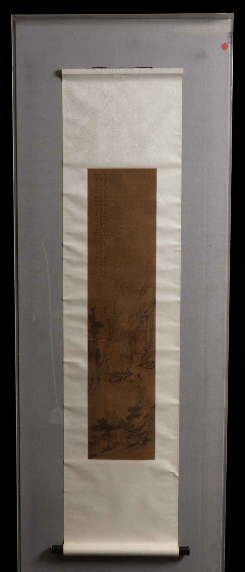Chinese Qing framed watercolor painted scroll on silk