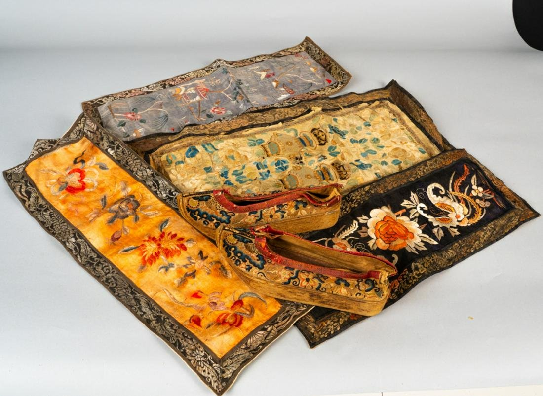 Lot Five Qing Dynasty Chinese Silk  Embroideries.